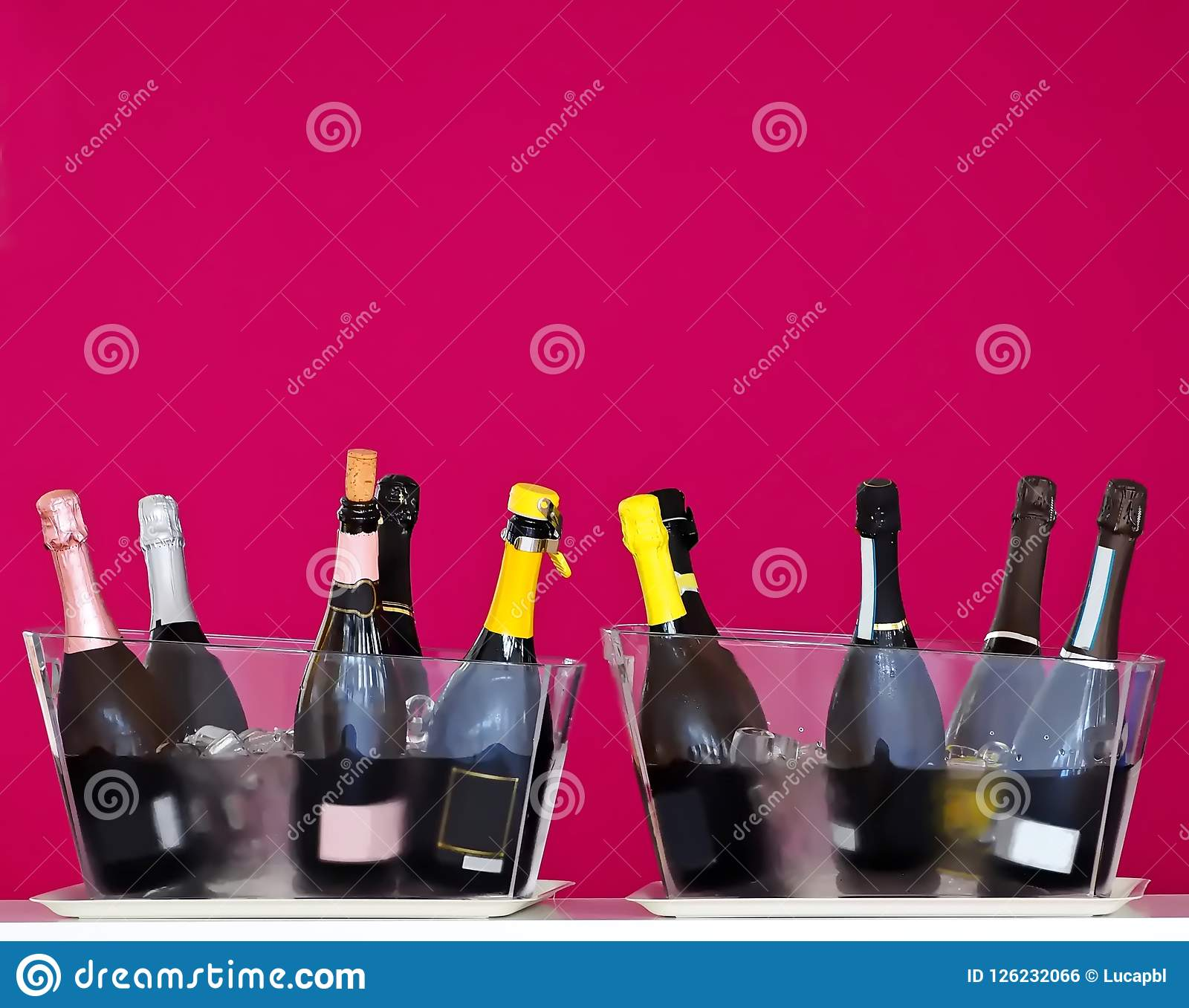 Sparkling wine bottles in two transparent ice buckets at a wine tasting. Purple wall background