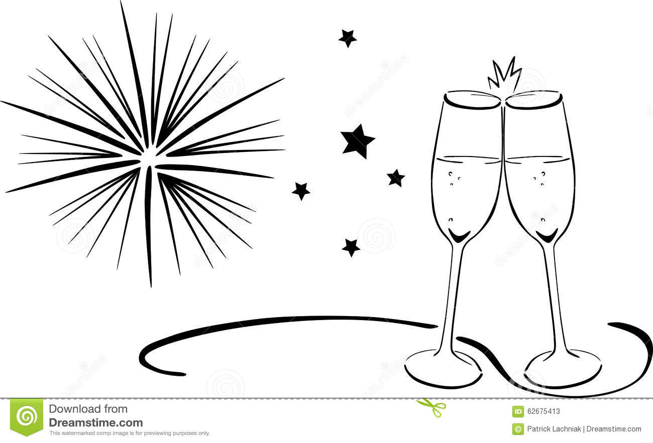 Sparkling Wine Glasses New Years Eve Stock Vector
