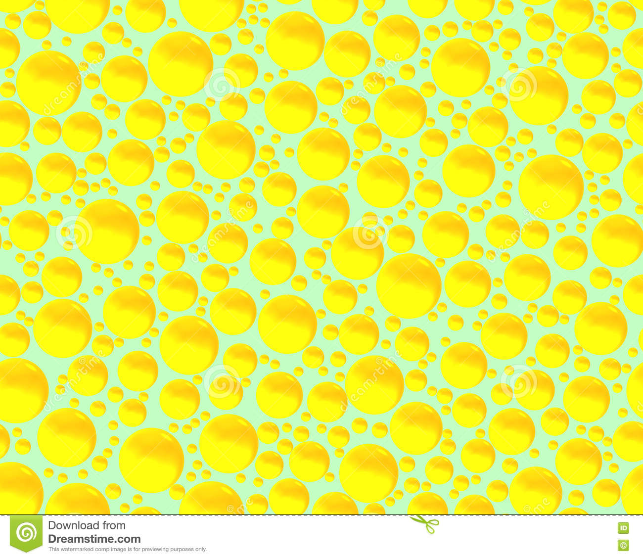 sparkling yellow bubbles and spheres on green background