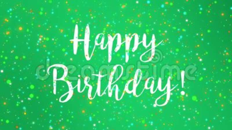 Sparkly Green Happy Birthday Greeting Card Video Stock Video Video