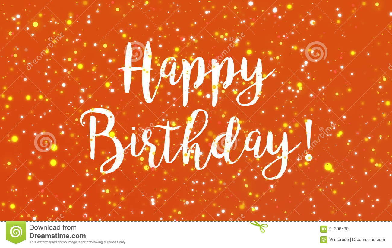Sparkly Orange Happy Birthday Greeting Card Video Stock Footage