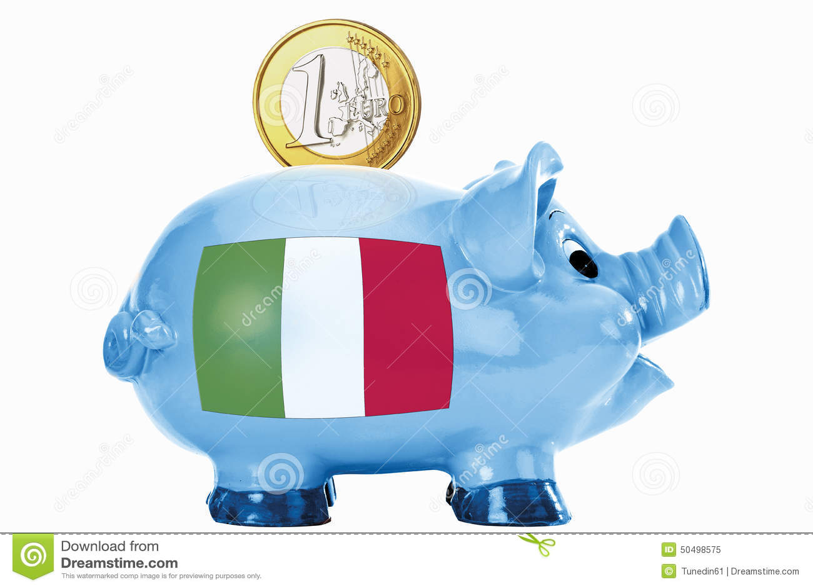 Sparschwein Mit 1 Euromünze Und Italienischer Flagge Stockbild