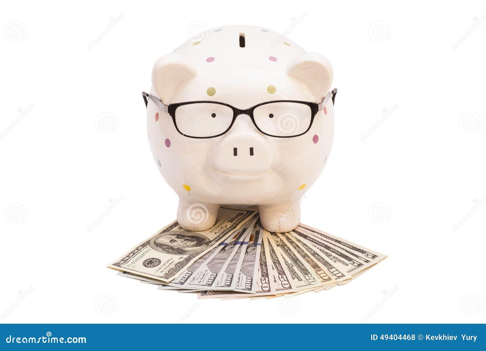 Download Sparschwein Mit Geld Und Gläsern Stockfoto - Bild von glas, heiß: 49404468