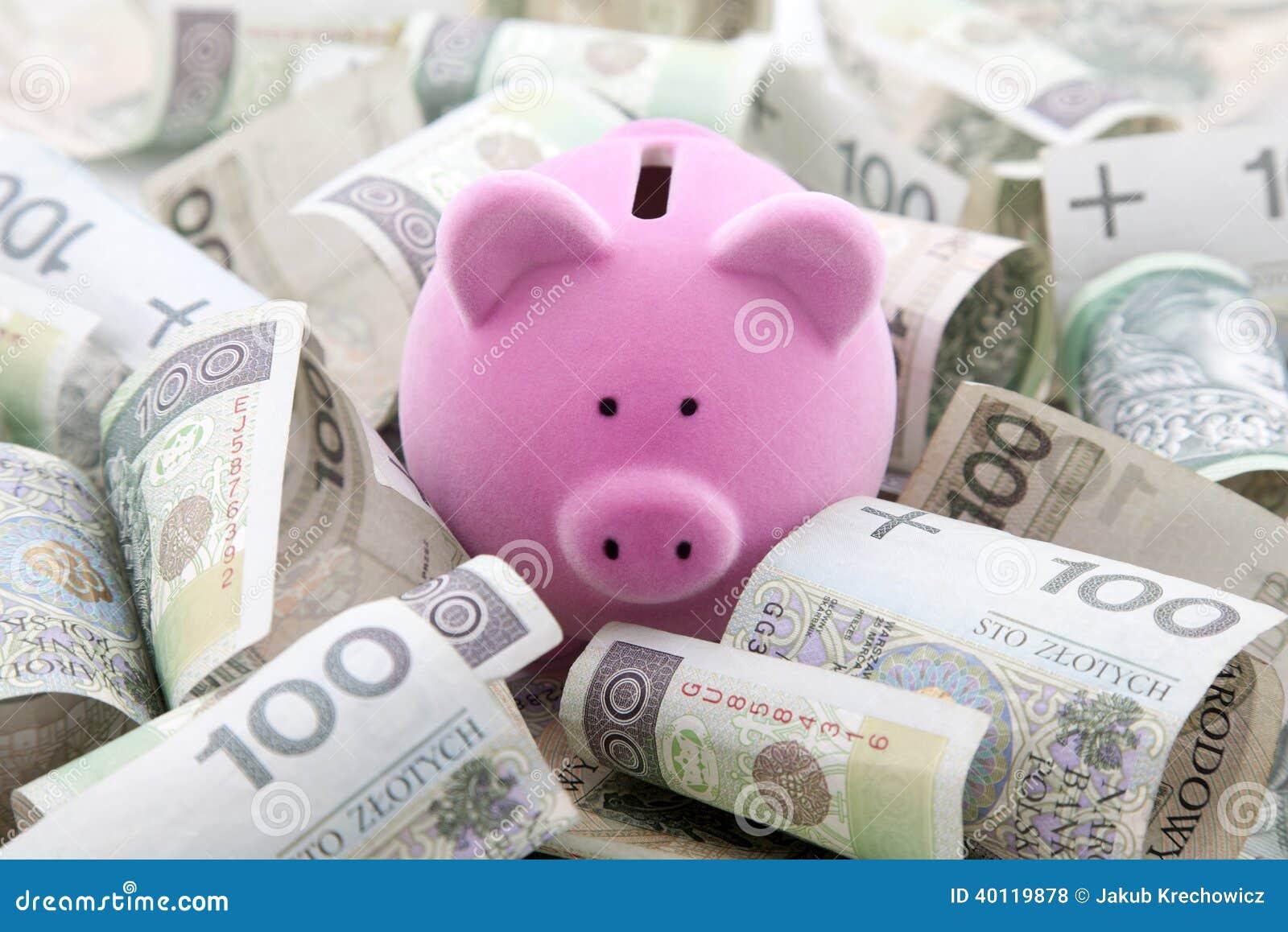 Sparschwein mit polnischem Geld