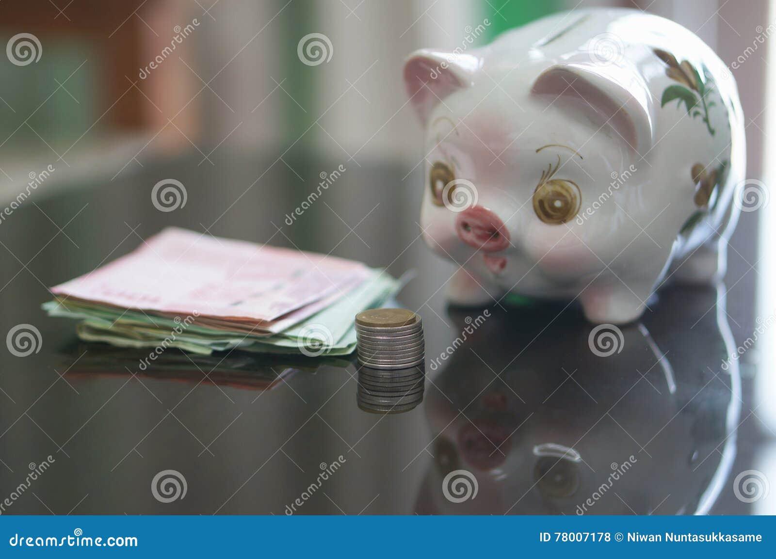 Sparschwein schaut Münzen und Banknote