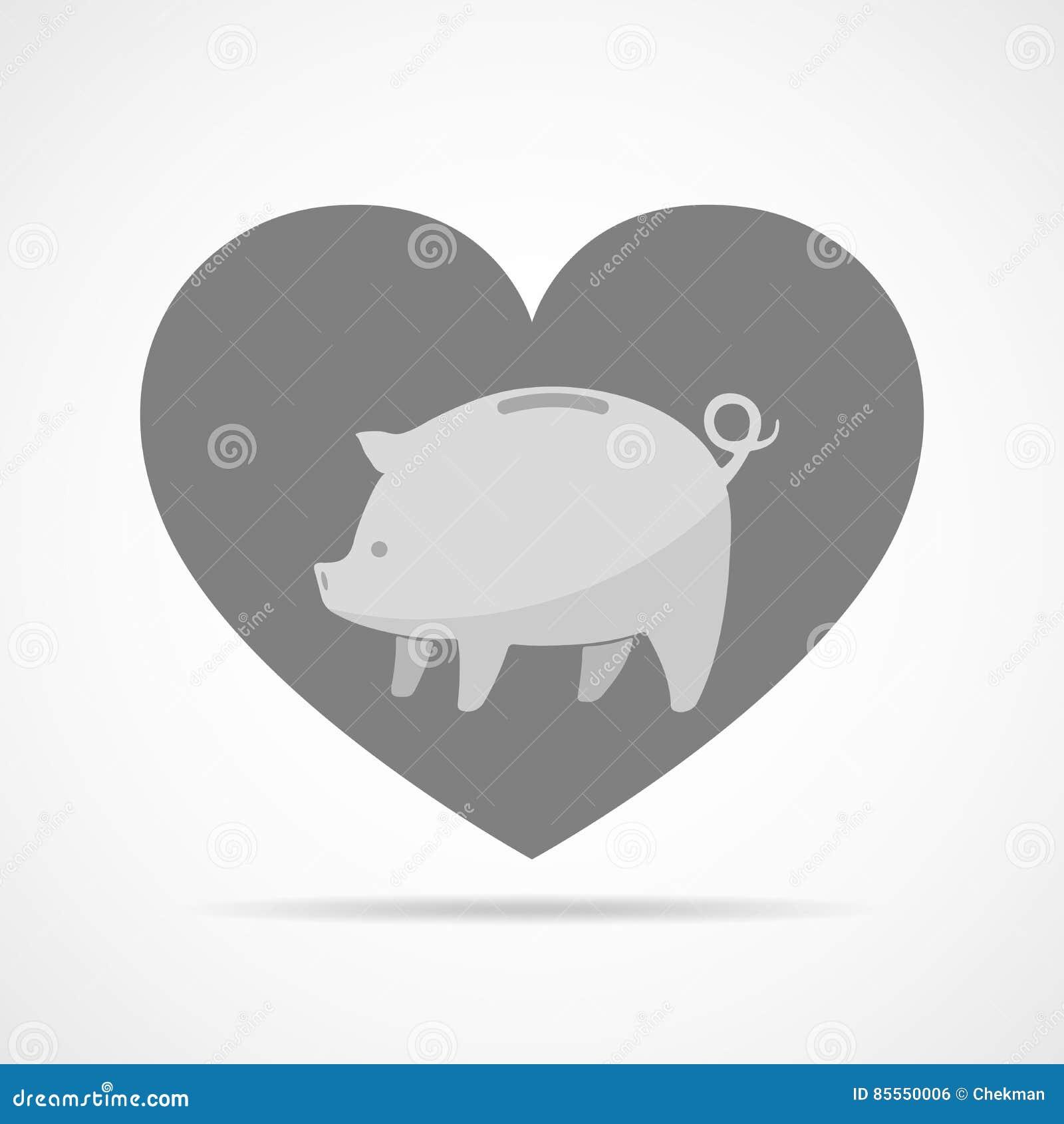 Sparschwein vor dem hintergrund eines Herzens Auch im corel abgehobenen Betrag