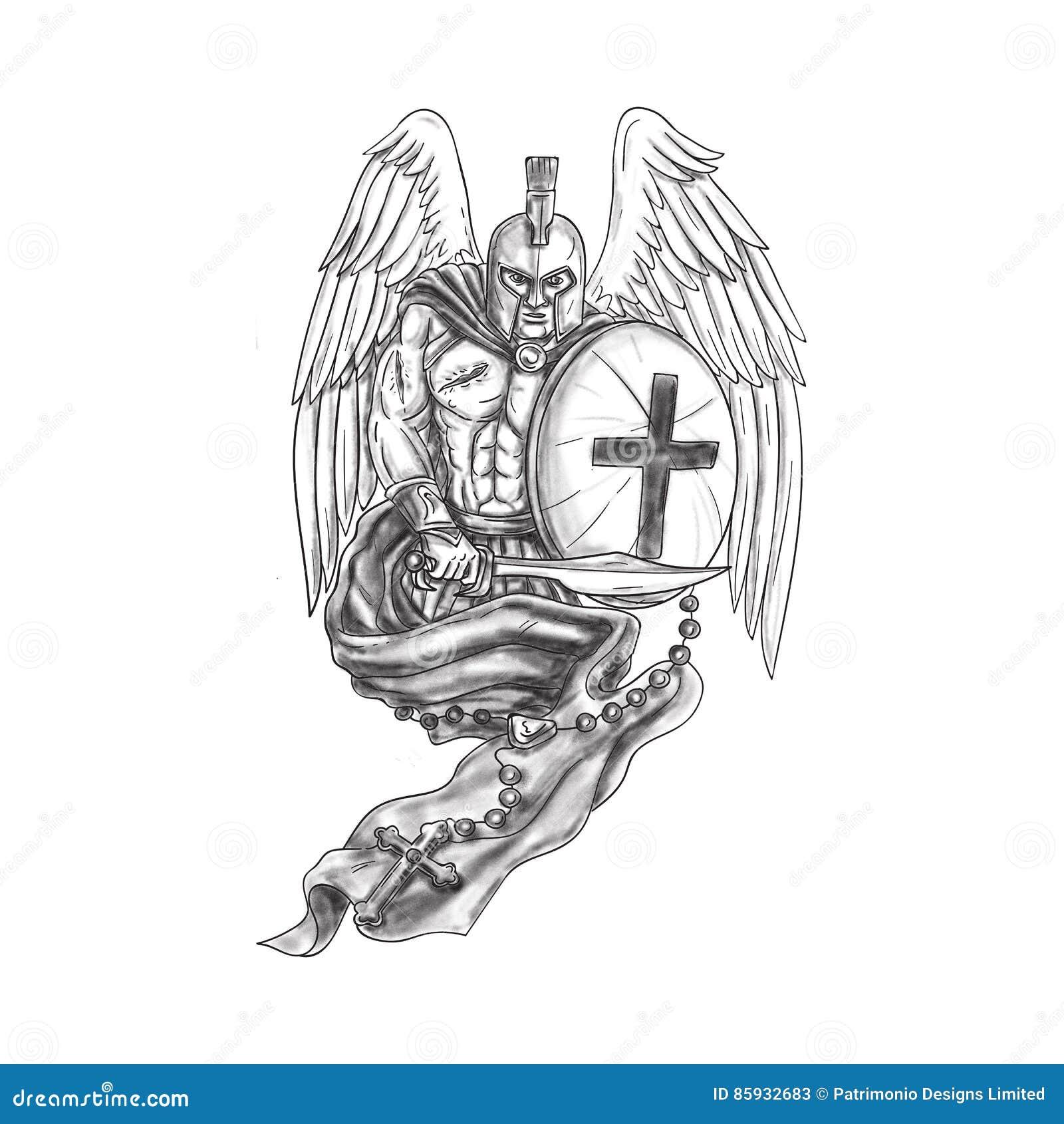 Spartańskiej Wojownika Anioła Osłony Różańcowy Tatuaż
