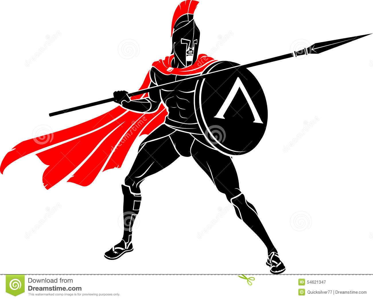 Spartan Battle Warrior Spear And Shield Stock Vector - Image: 54621347