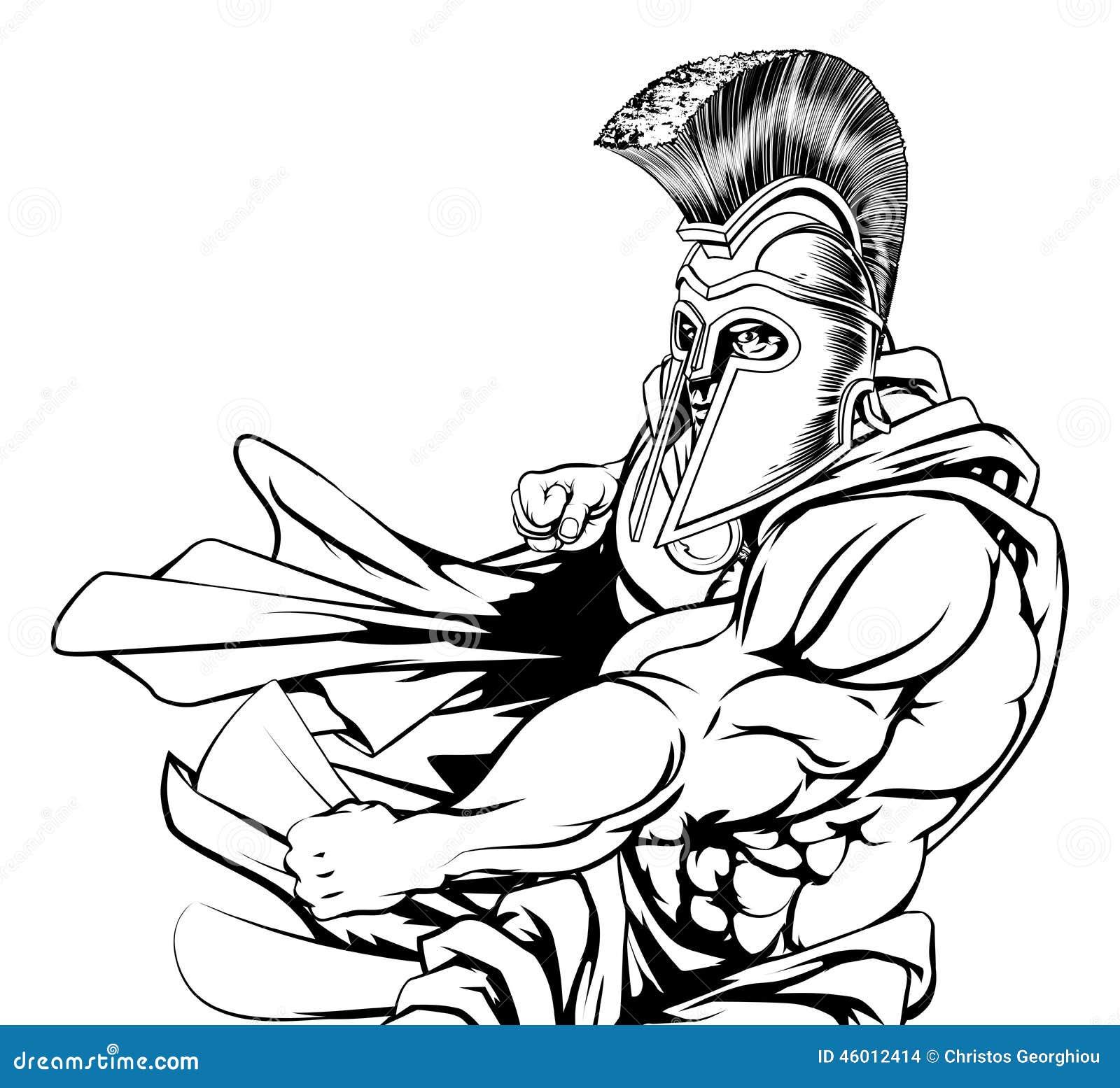 spartan character punching illustration de vecteur