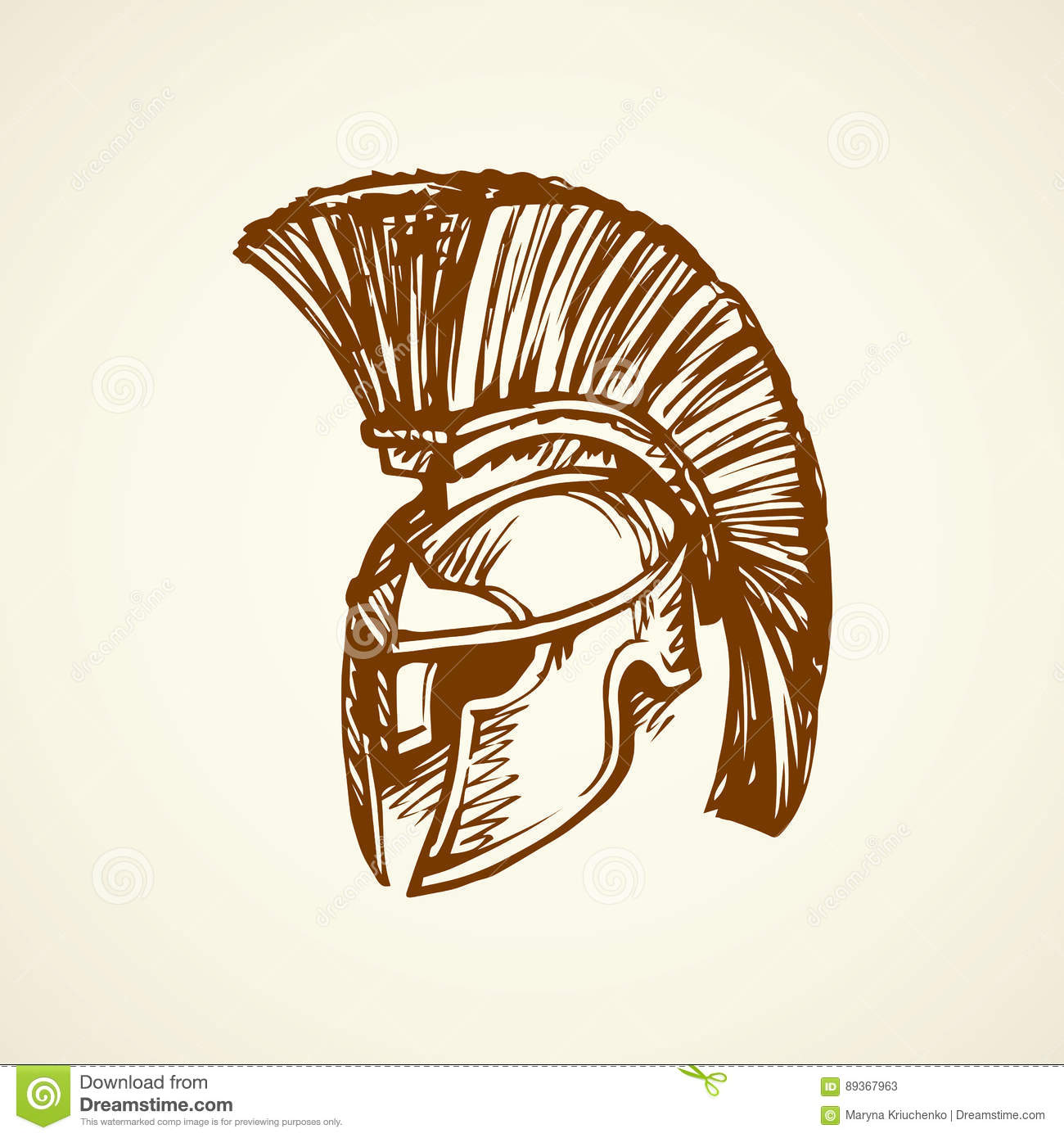 Spartan Helmet Vector Drawing Stock Vector Illustration Of