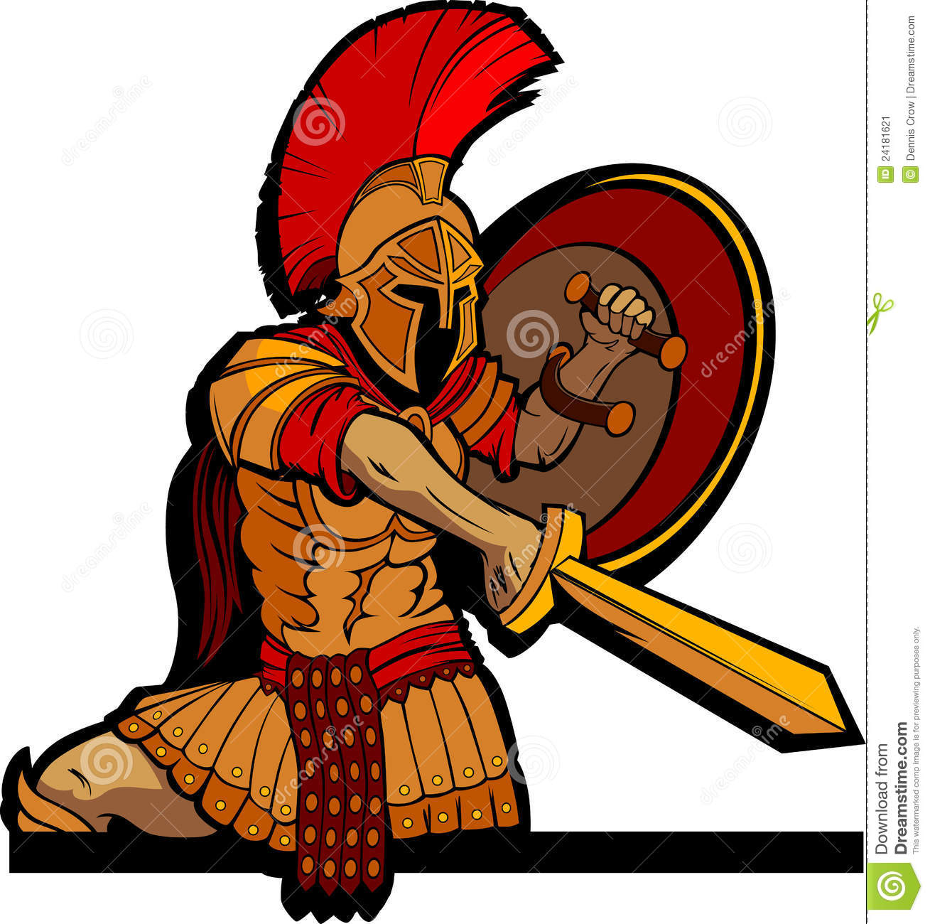Spartan Mascot With Sword And Shield Stock Vector - Illustration of