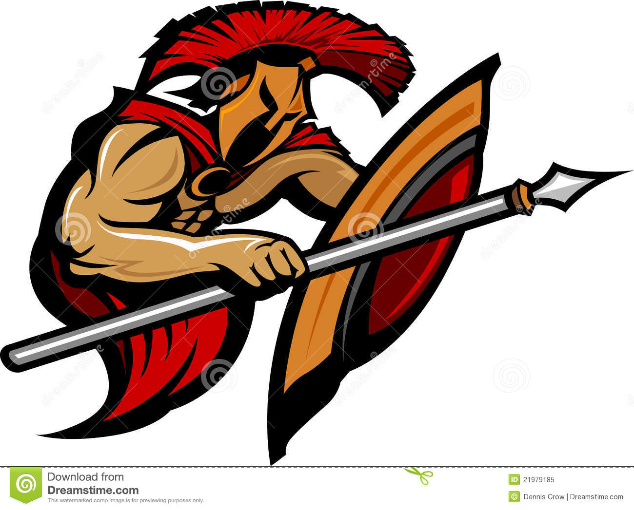 Spartan Trojan Mascot With Spear And Shield Stock Vector