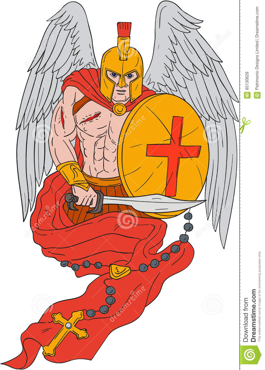 699e7edaccbb7 Drawing sketch style illustration of a wounded spartan warrior angel  wearing helmet holding sword and shield with rosary viewed from front set  on isolated ...