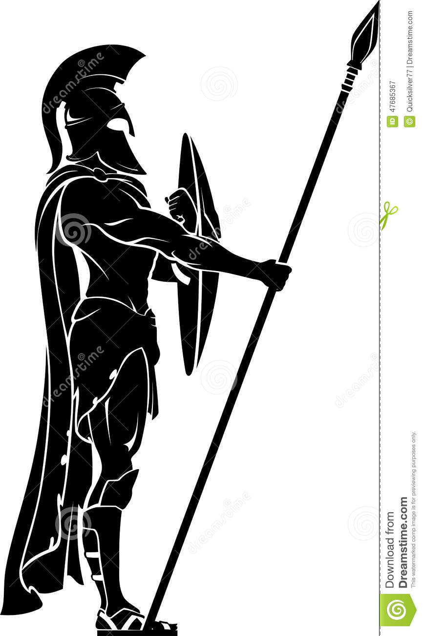 Spartan Warrior On Guard Stock Illustration - Image: 47685367