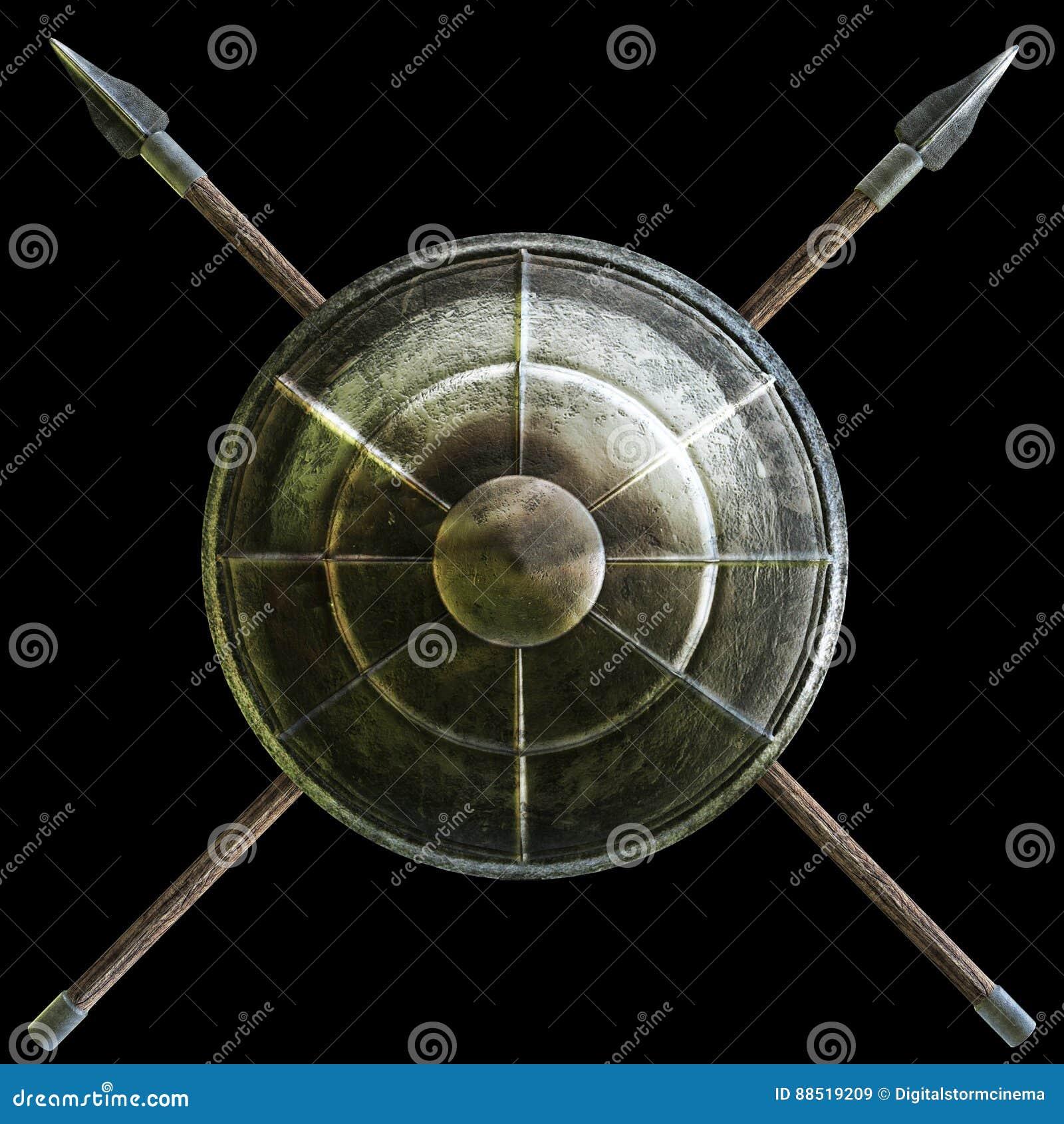 spartanisches schild mit kreuz durchbohrt symbol auf einem schwarzen hintergrund stock abbildung. Black Bedroom Furniture Sets. Home Design Ideas