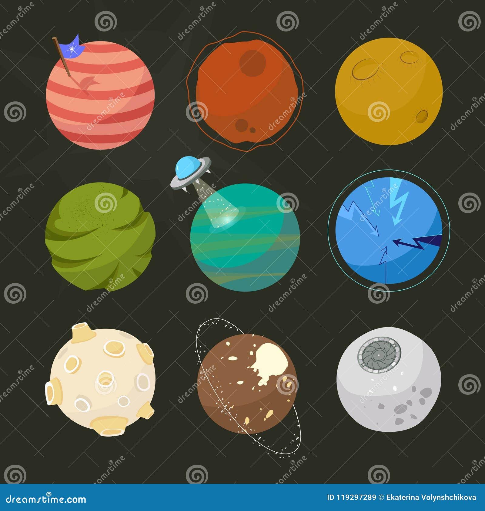 Spase planetuje dla projekta, powieściowe planety, brignt kreskówki astronautyczny styl