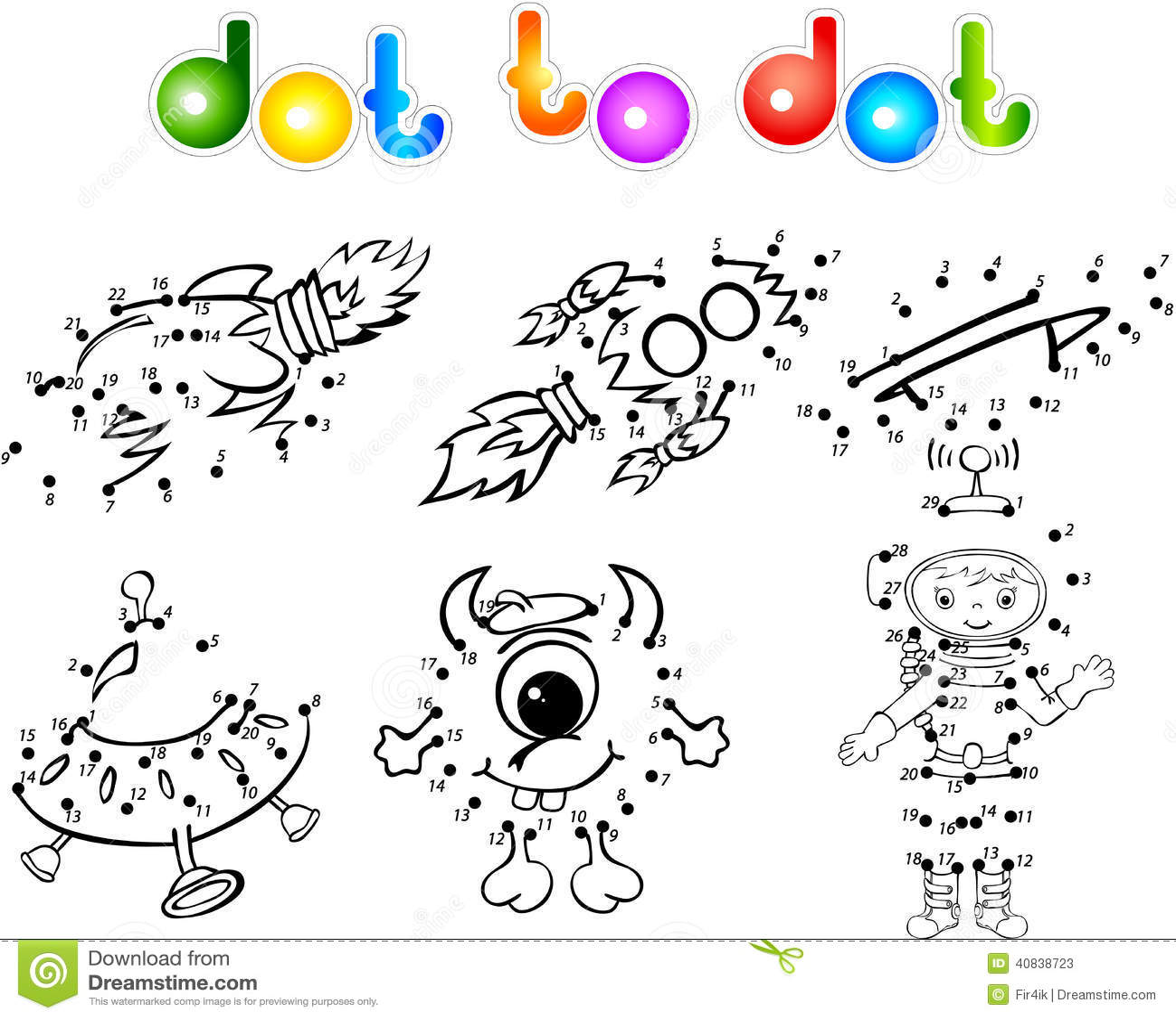 Spase Set 2 Dot To Dot Stock Vector - Image: 40838723