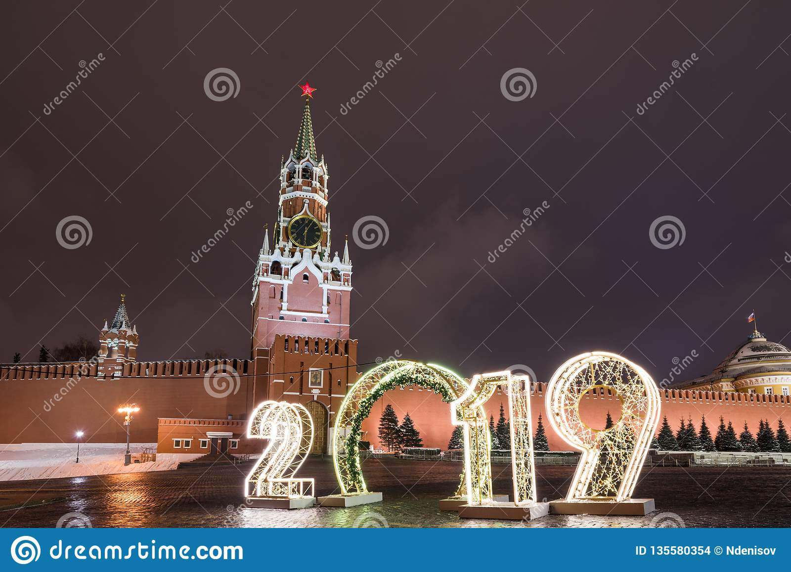 Spasskaya Tower And 2019  Winter Moscow Before Christmas And