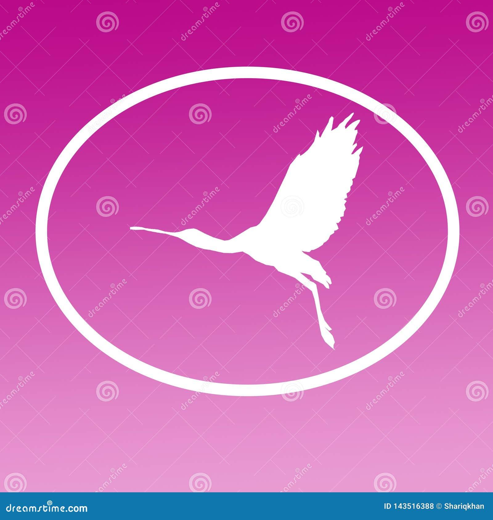 Spatule de Logo Banner Image Flying Bird dans la forme ovale sur le fond magenta