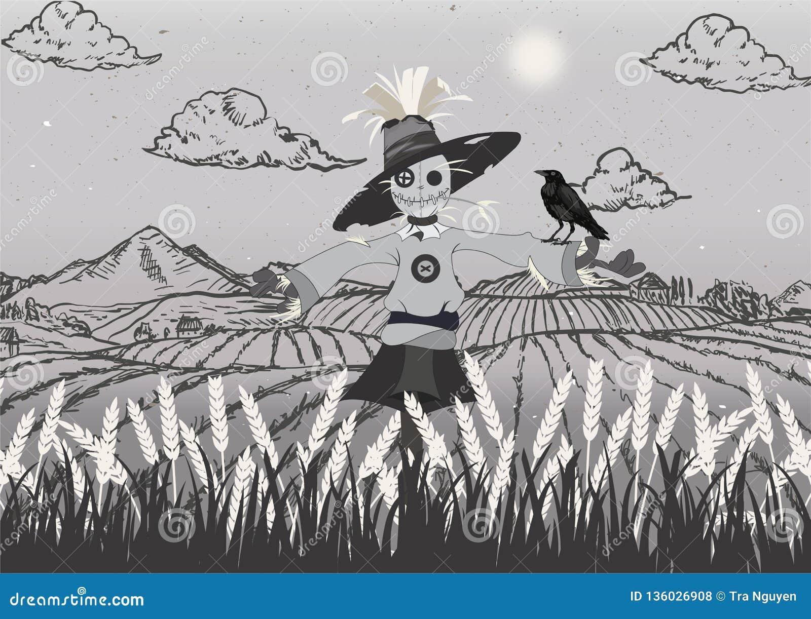 Spaventapasseri sul nero del campo e grigio