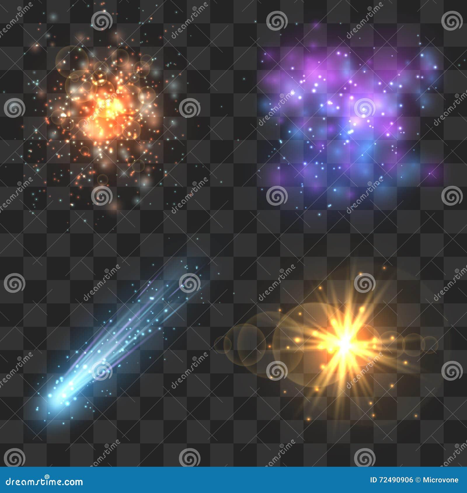 Spazi gli oggetti dell universo, la cometa, la meteora, esplosione delle stelle sul fondo a quadretti di trasparenza