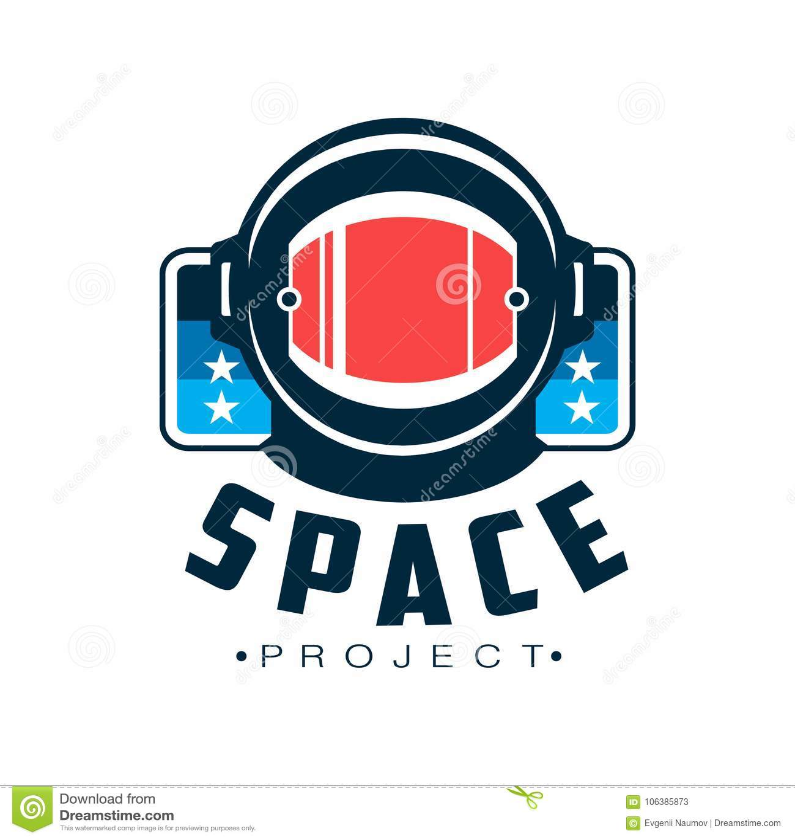 Spazi il logo con il casco protettivo del ` s dell astronauta Emblema cosmico di viaggio con l iscrizione Progettazione piana di
