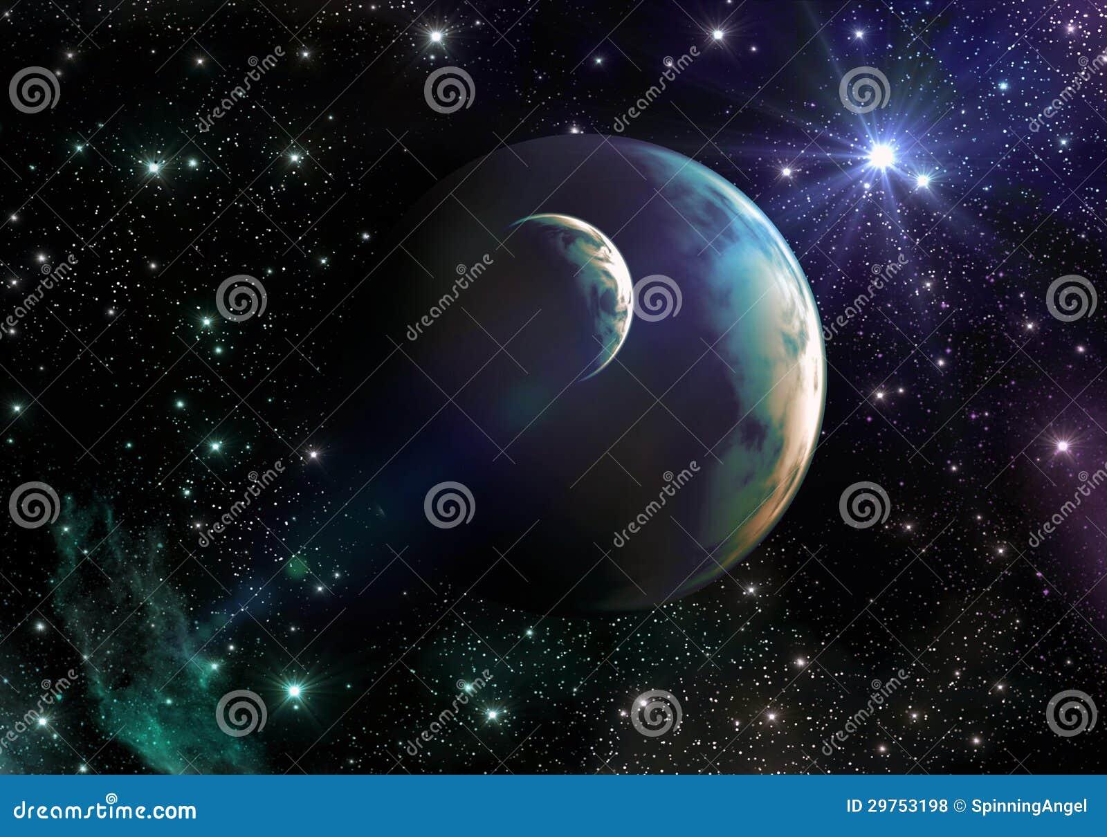 Terra-come i pianeti nello spazio con le stelle e la nebulosa