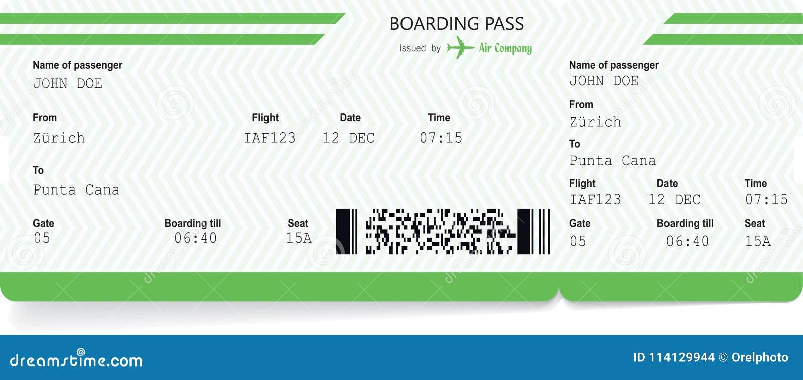 Spazio in bianco del biglietto di aeroplano Passaggio di imbarco verde