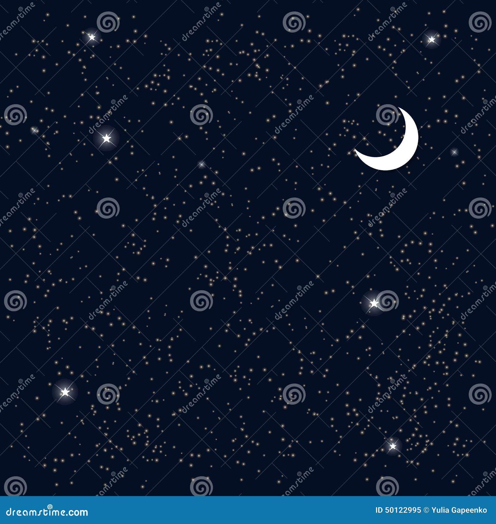Spazio Cielo Stellato Con La Luna Vettore Illustrazione Vettoriale