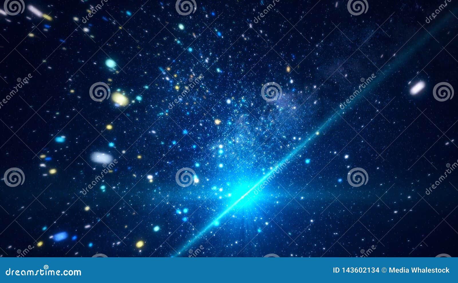 Spazio cosmico astratto con le stelle luminose animazione Muovendosi fra le stelle scintillanti luminose nello spazio cosmico di
