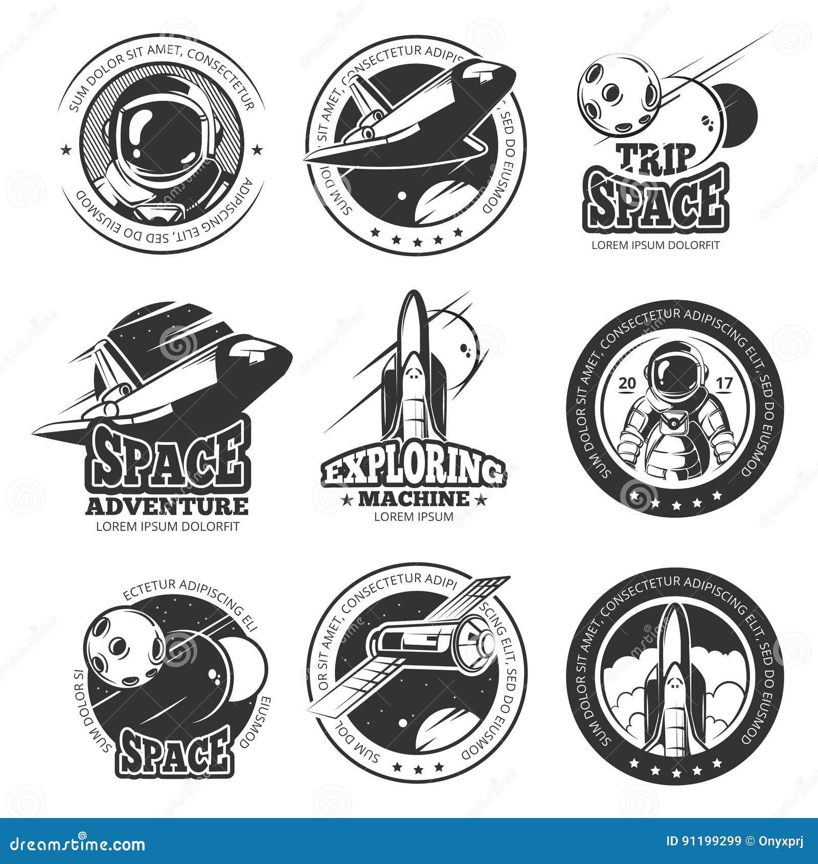 Spazio d annata, astronautica, etichette di vettore di volo di navetta spaziale, logos, distintivi, emblemi