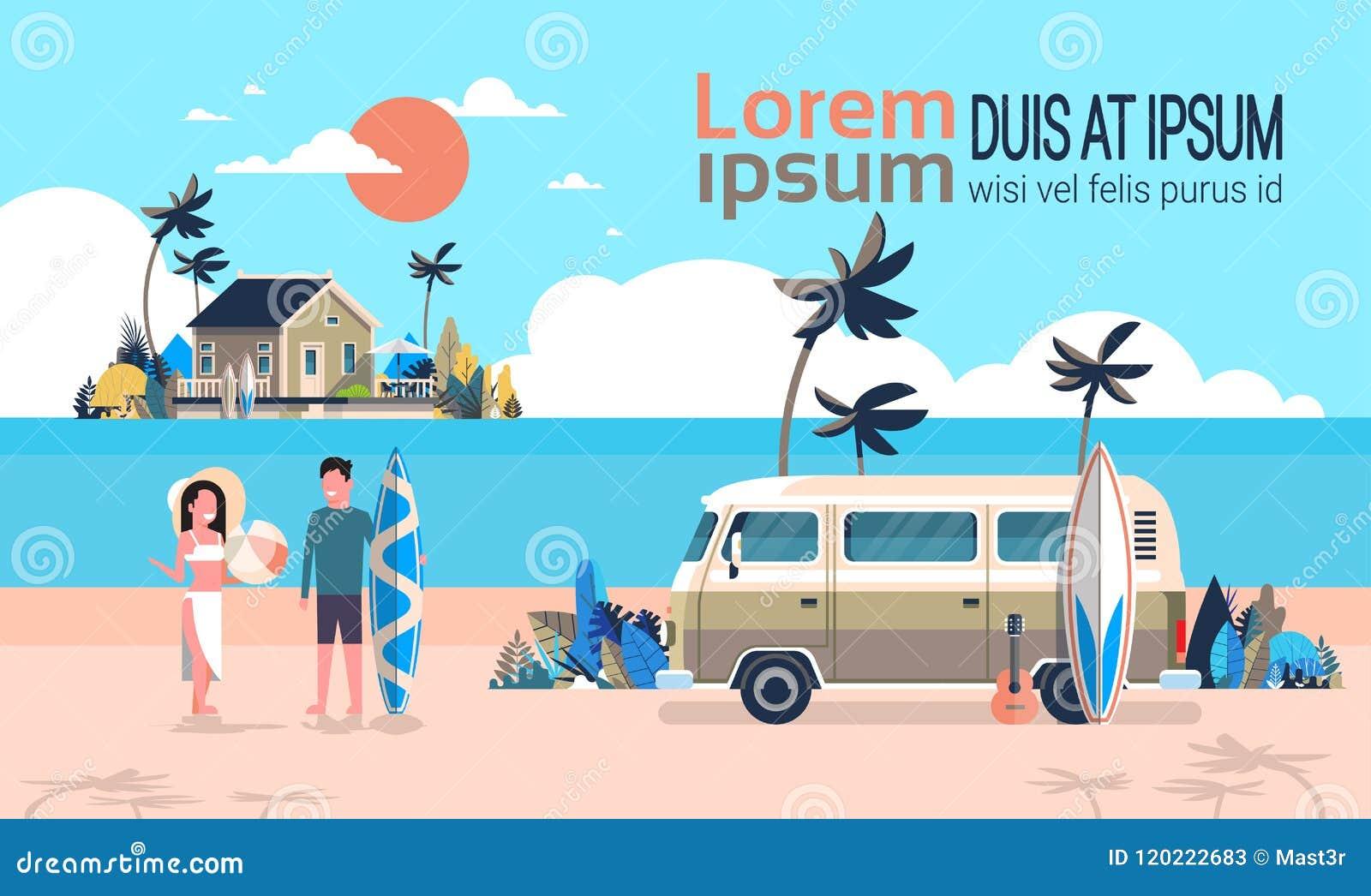 Spazio orizzontale praticante il surfing della copia dell isola d annata della villa della spiaggia tropicale di alba del bus del