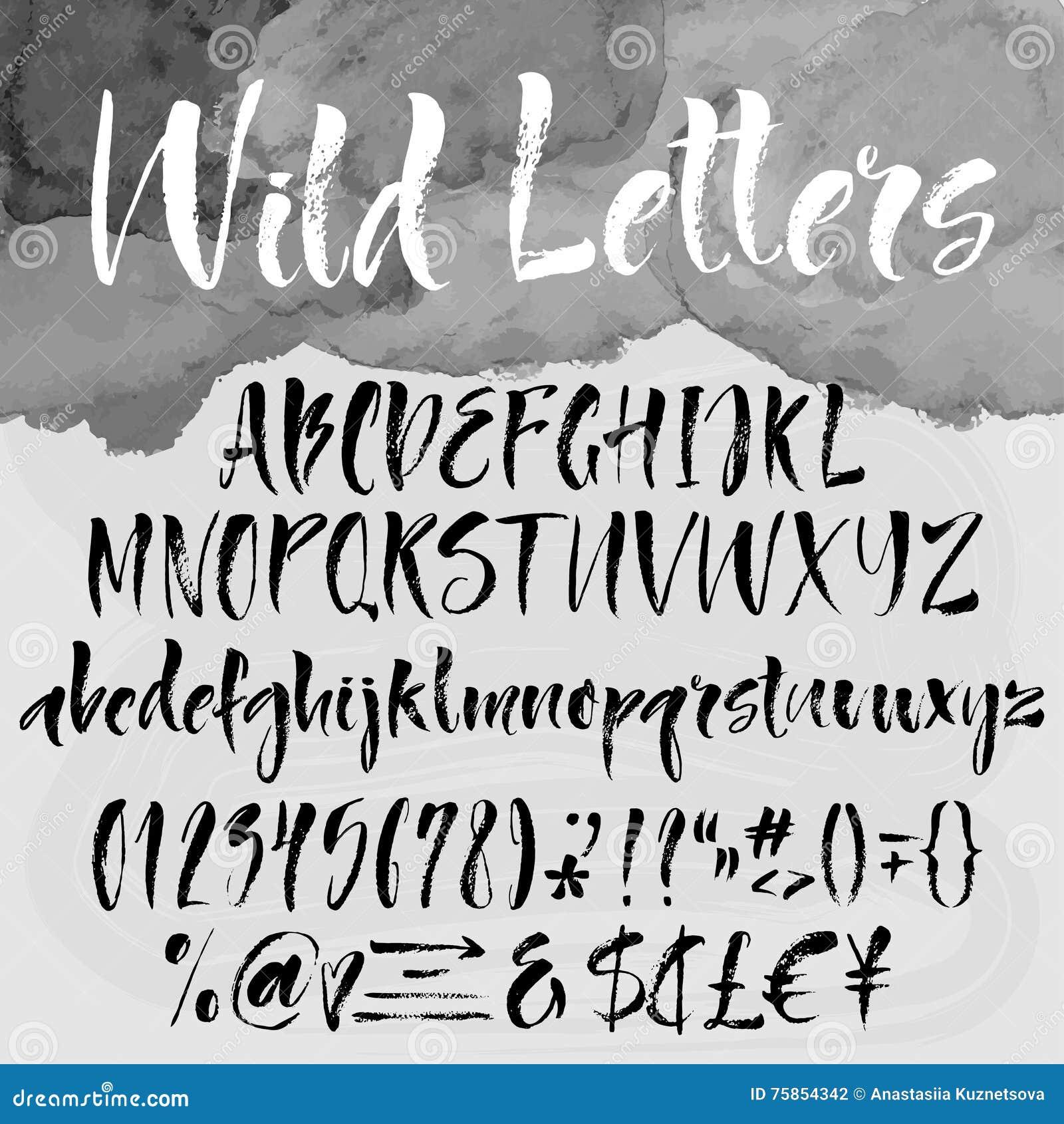 Spazzola che segna insieme con lettere alfabetico