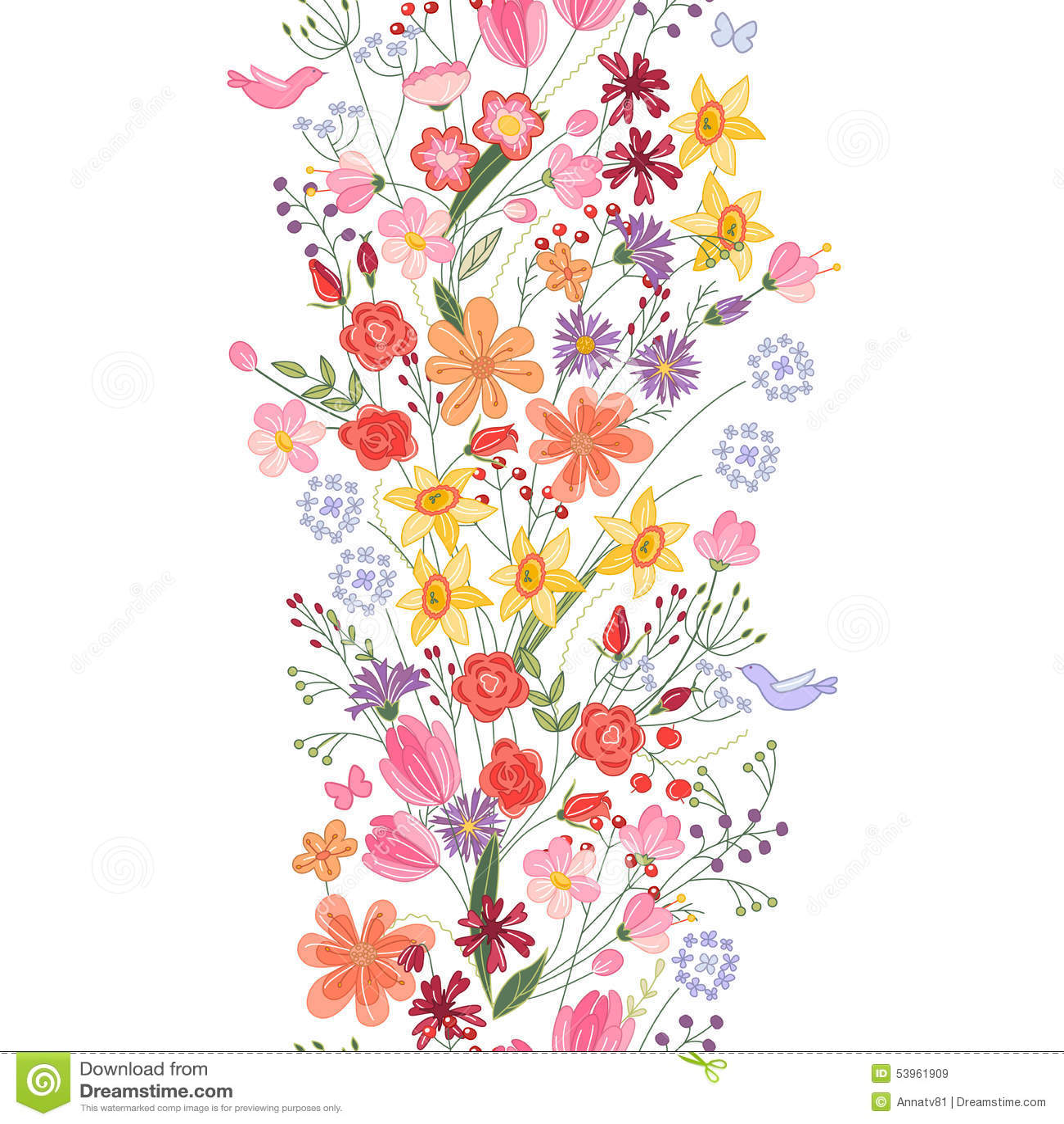 Spazzola senza cuciture del modello Mazzo di fiori stilizzati del campo  Stile dell\u0027annata