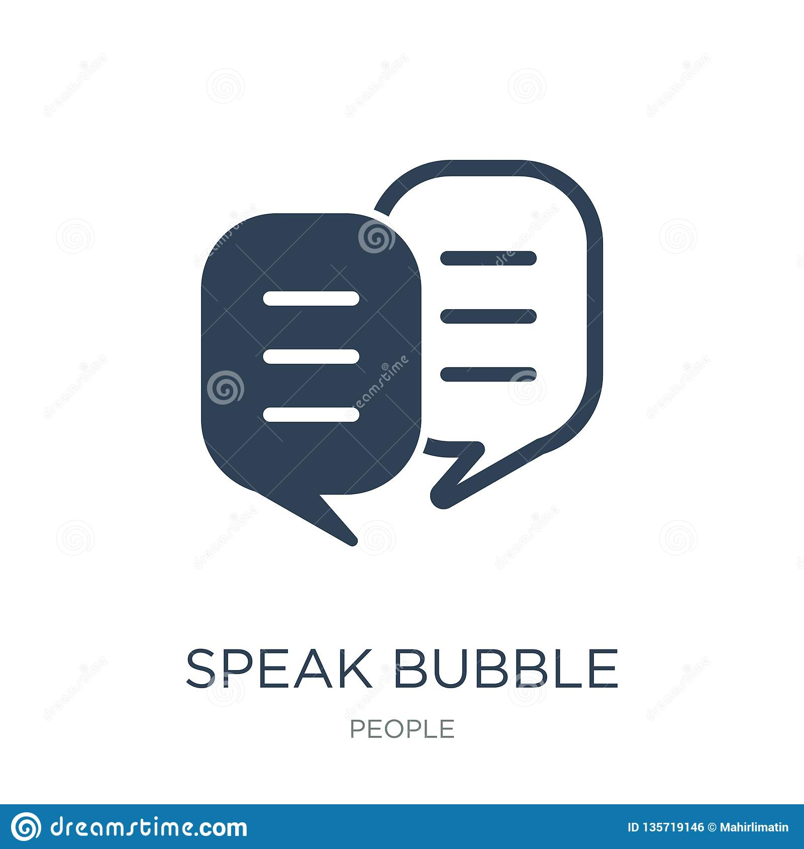 speak bubble icon in trendy design style. speak bubble icon isolated on white background. speak bubble vector icon simple and