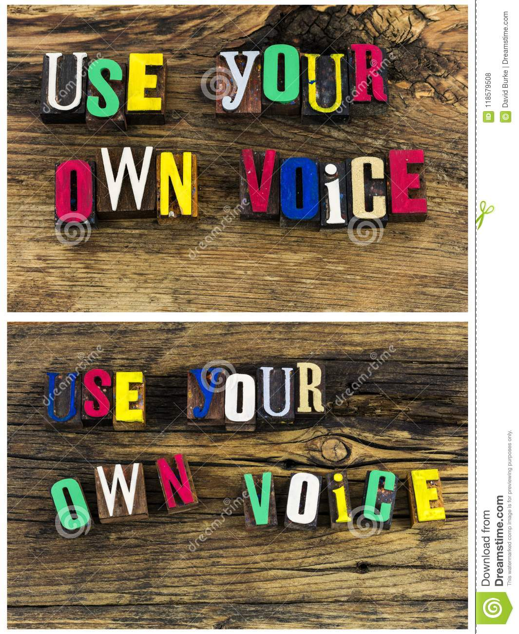 Speak Up Use Your Own Voice Collage Stock Photo - Image of