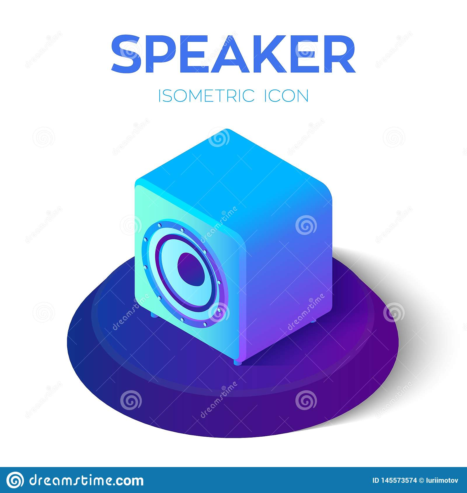 Speaker. Acoustic speaker 3D isometric icon. Created For Mobile, Web, Decor, Print Products, Application. Perfect for web design,