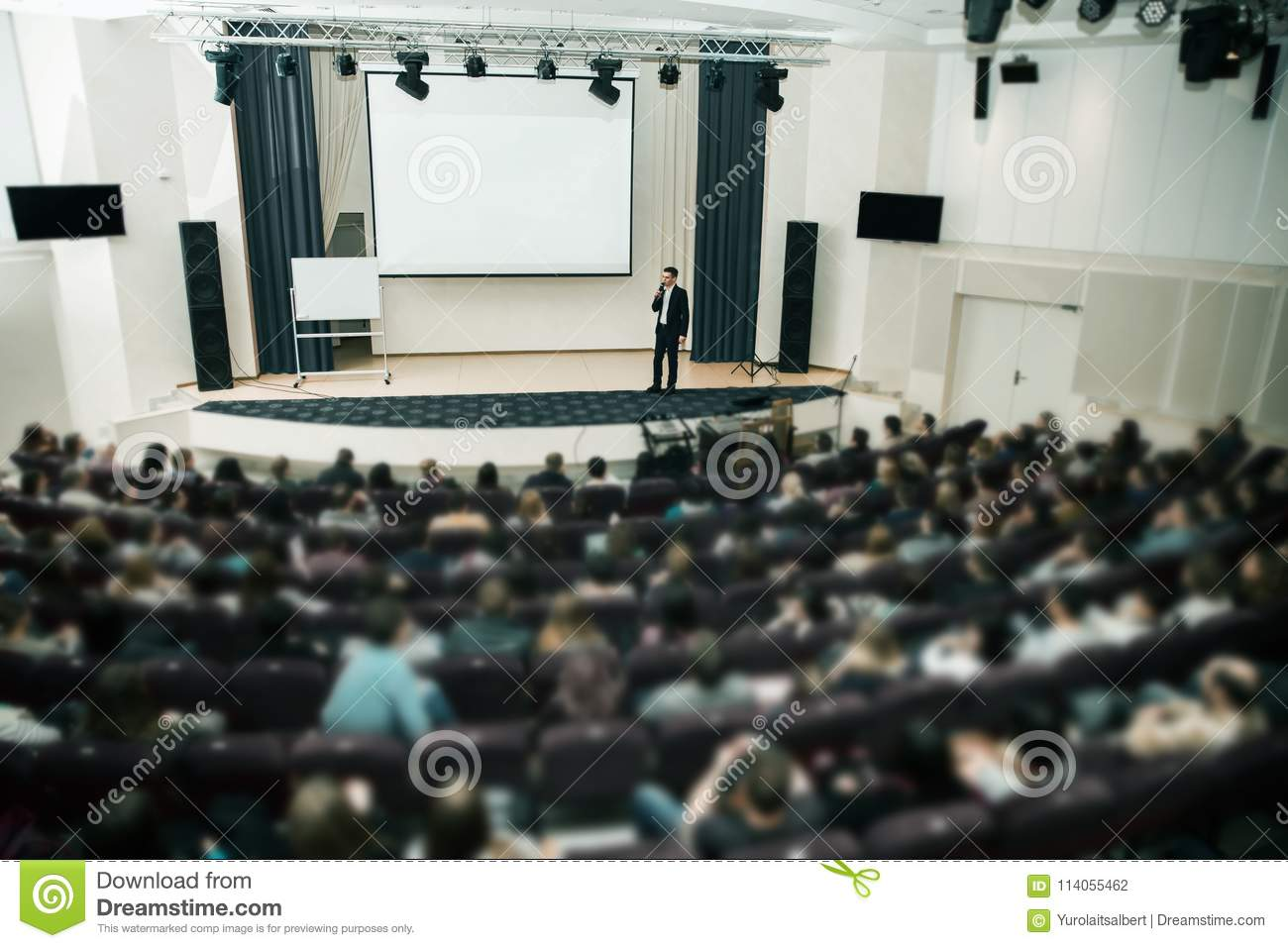 Speaker at Business Conference and Presentation. Audience the conference hall.