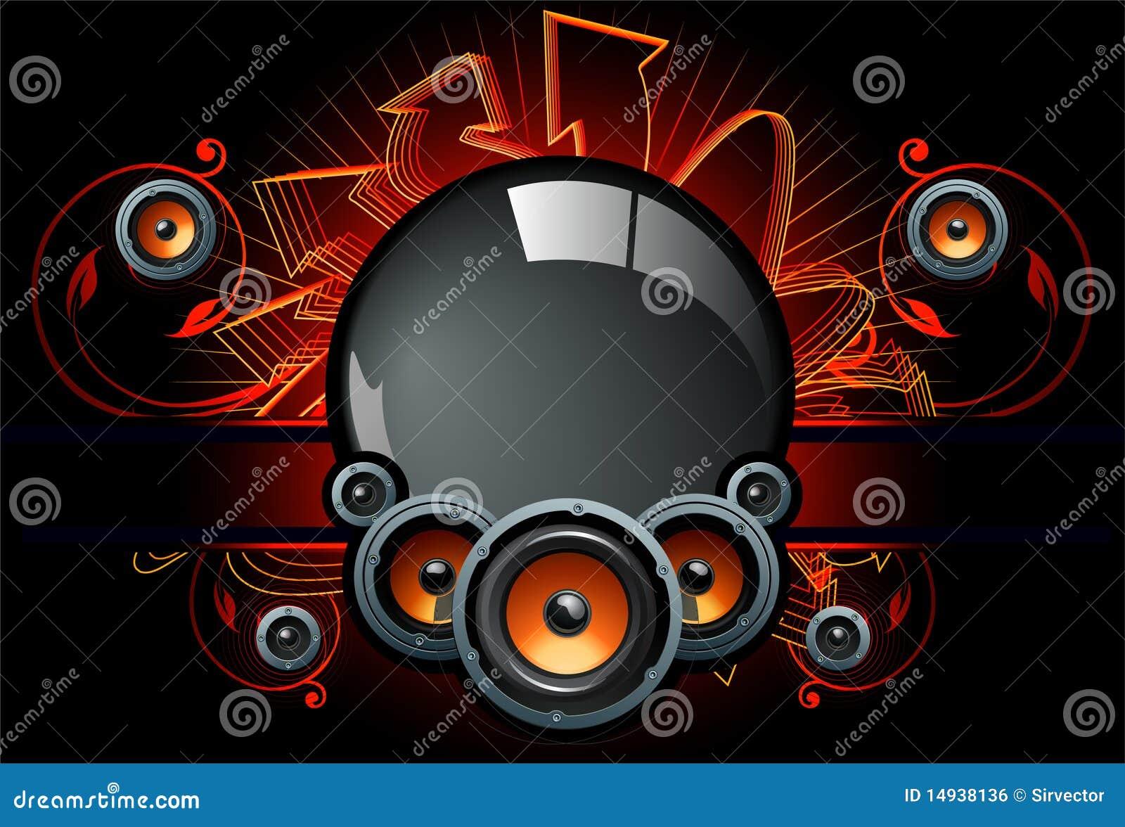Speaker Comp In Dark Background Stock Vector - Illustration