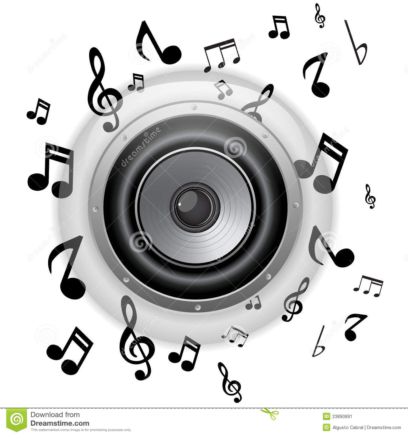 Speaker Glass Button With Music Notes Stock Vector