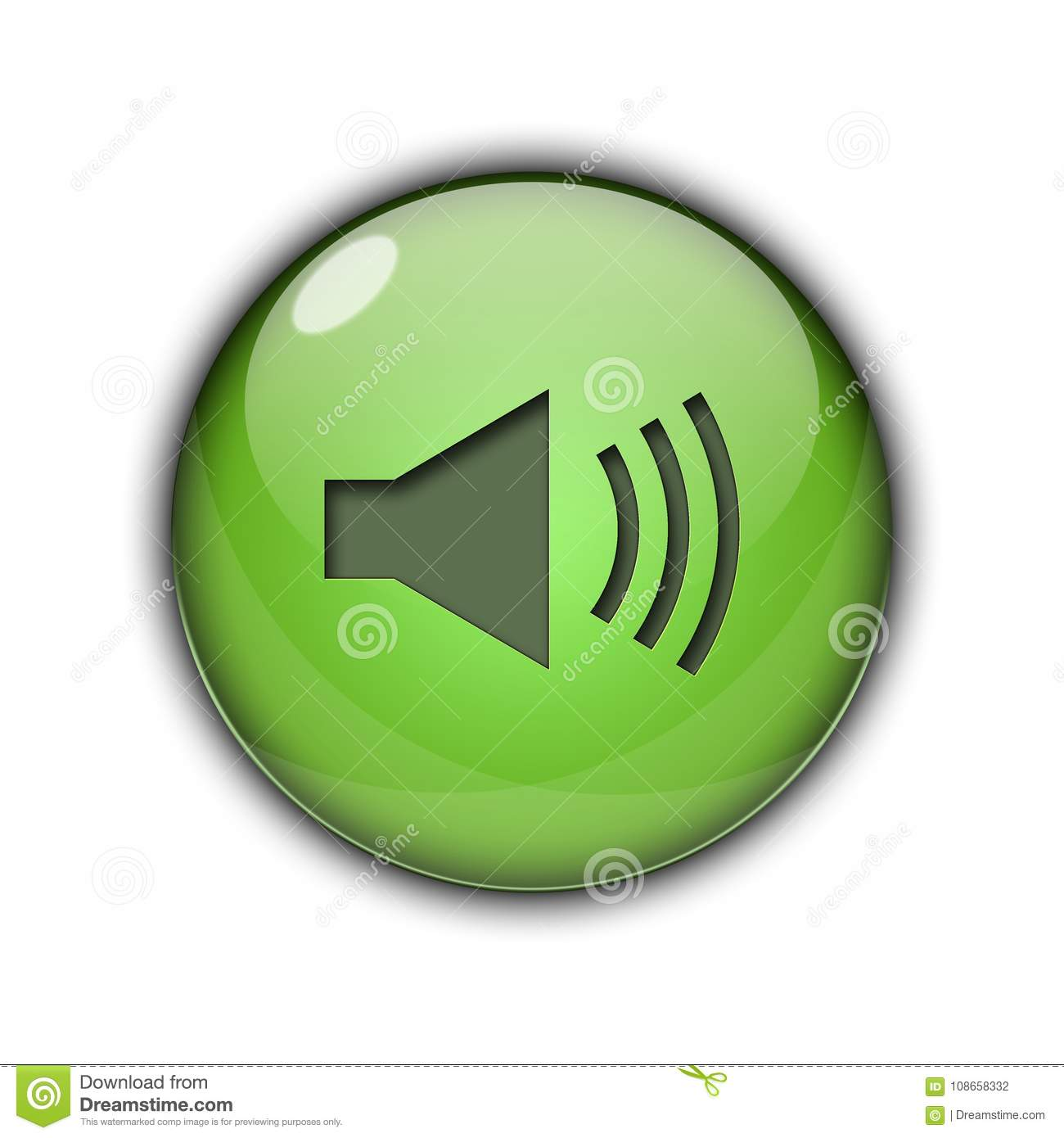 Speaker Icons And Buttons 3D Green Color Stock Illustration ...