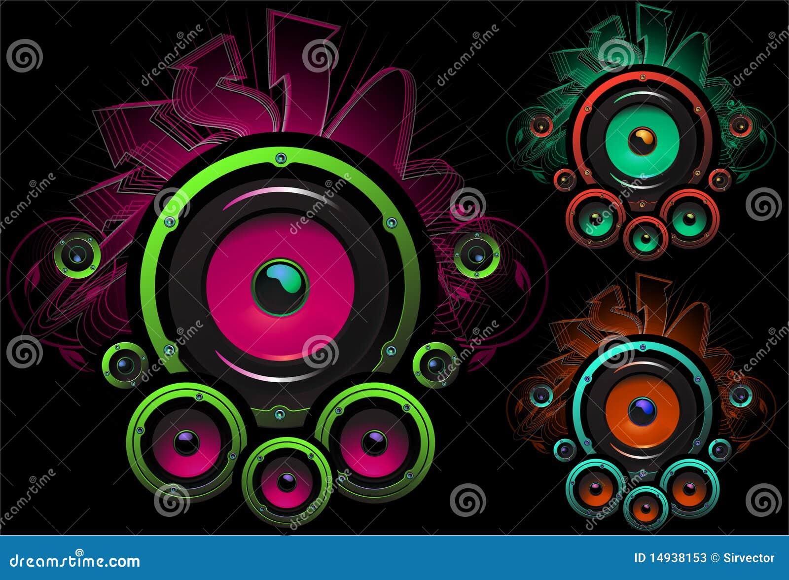 Speaker Set Design In Dark Background Stock Vector