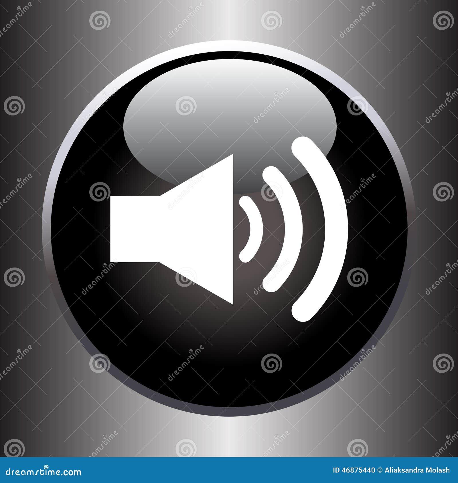 Speaker volume icon on black glass button