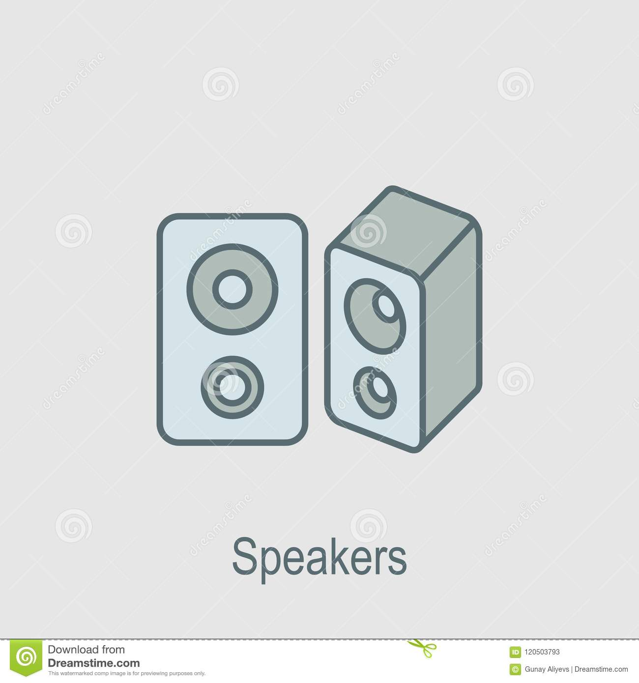 Speakers Icon  Element Of Computer Parts With Name Icon For