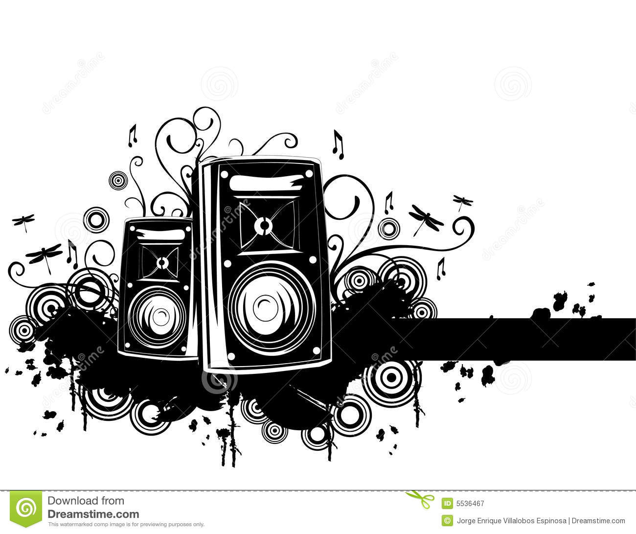 Speakers Vector Stock Vector. Illustration Of Floral