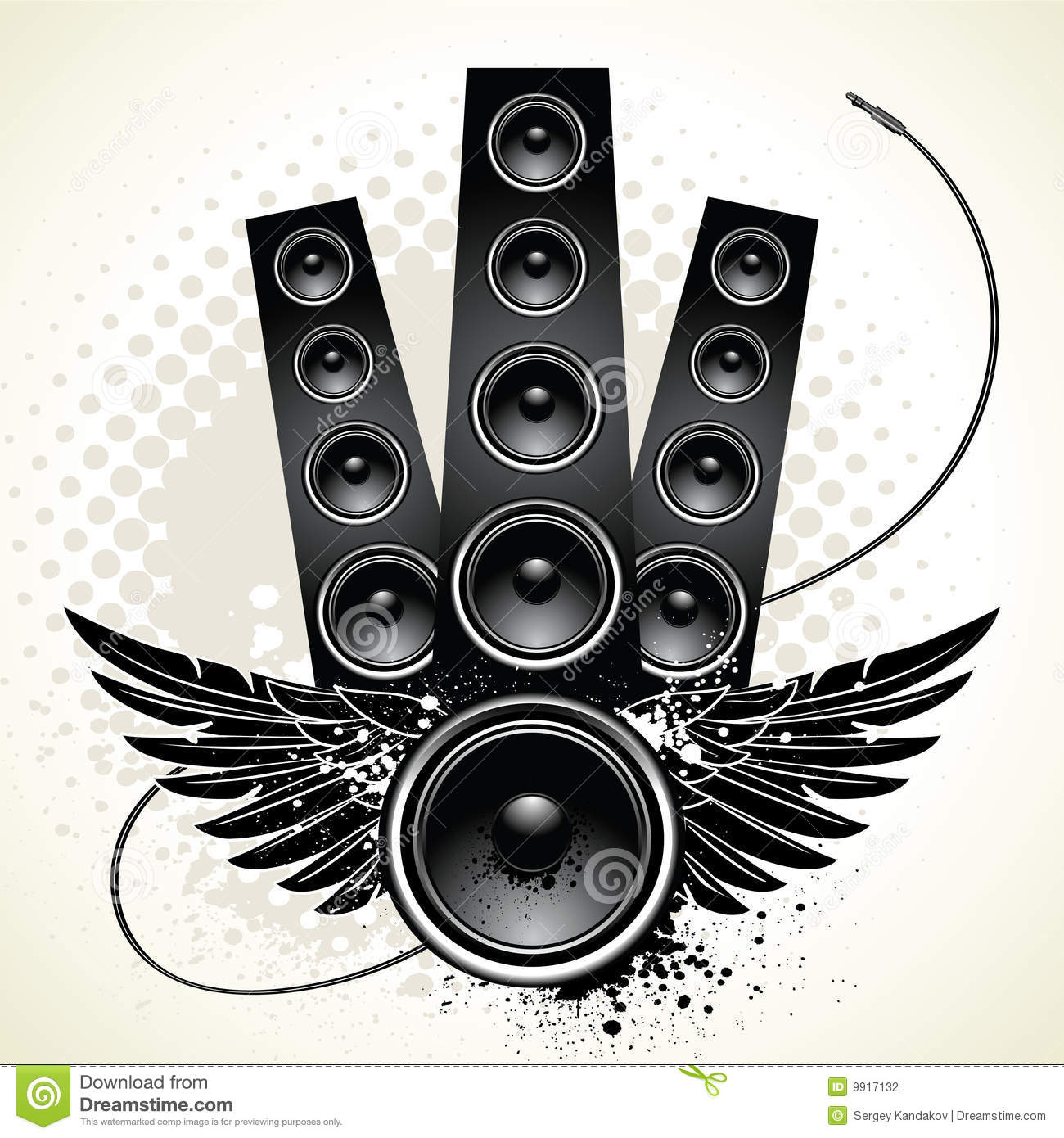Speakers With Wings And Wire Stock Vector Image 9917132