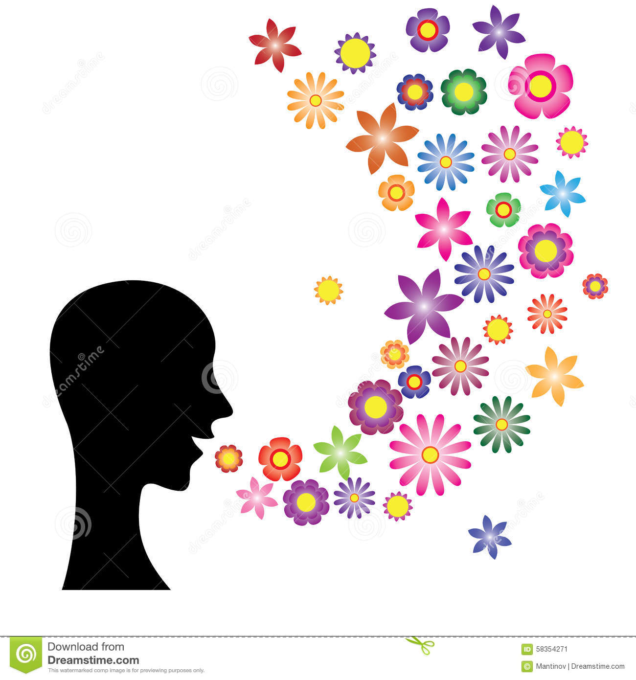 Speaking With Flower Language Stock Vector Image