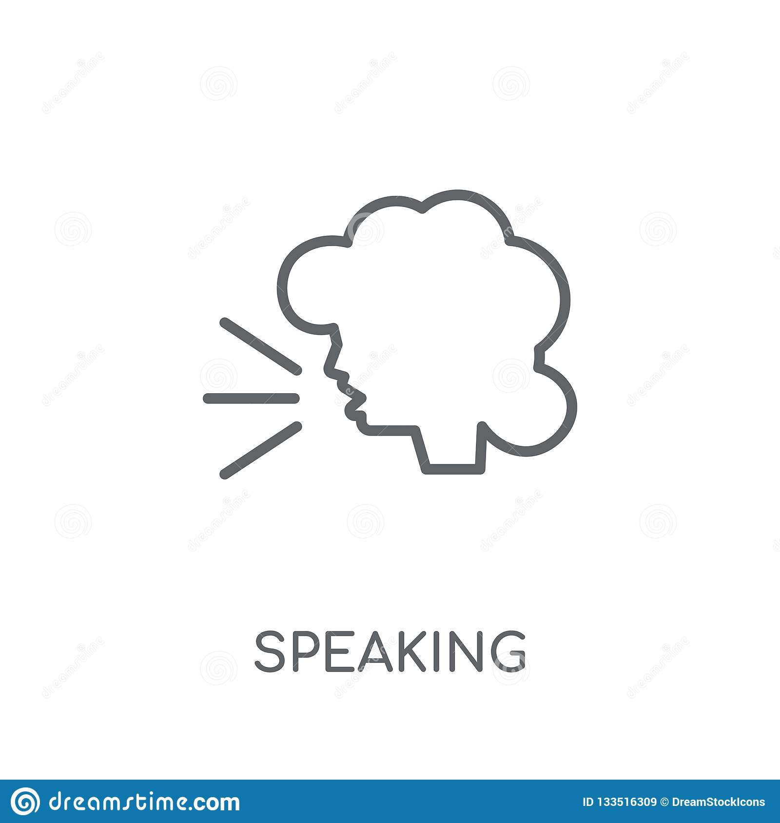 Speaking linear icon. Modern outline Speaking logo concept on wh