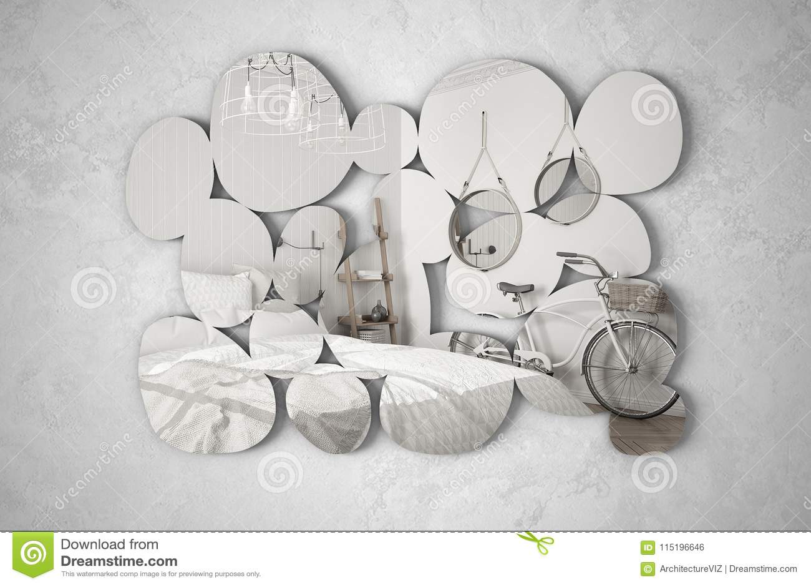 Specchio Design Moderno Camera Da Letto.Specchio Moderno Sotto Forma Dei Ciottoli Che Appendono Sulla