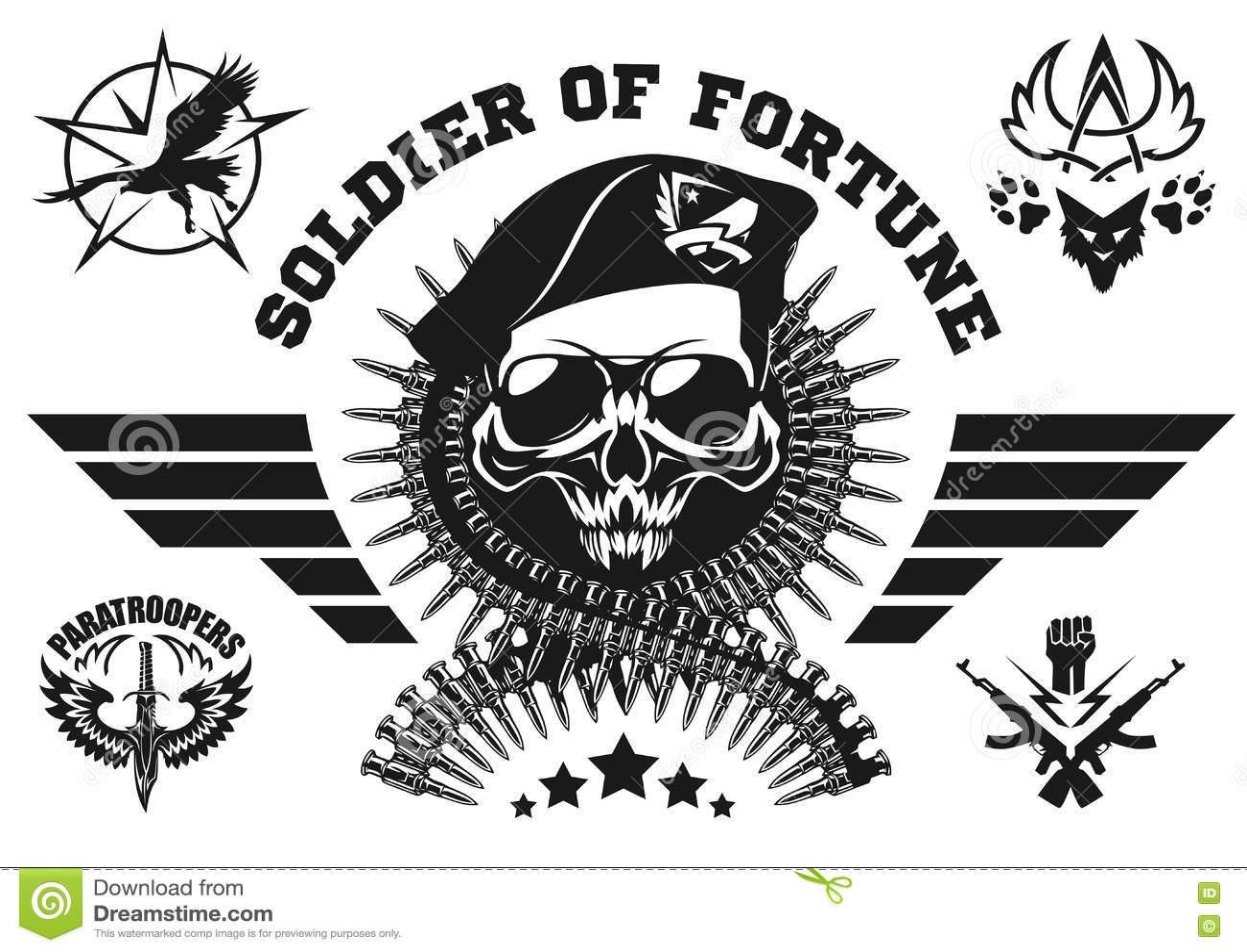 Speciaal krachten vectorembleem met schedel, munitie en vleugels